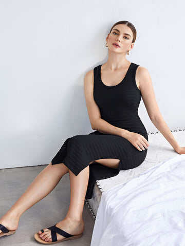 Split Side Rib-knit Dress