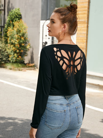 Laser Cut Butterfly Solid Tee
