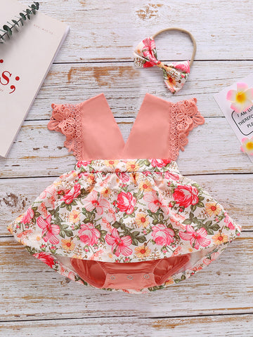 Baby Girl Floral Lace Trim Combo Bodysuit Dress With Headband