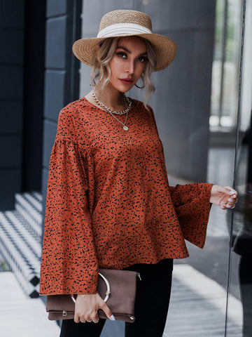 Keyhole Back Bell Sleeve Allover Print Top