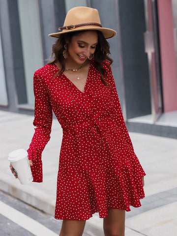 Drawstring Waist Ruffle Hem Polka Dot Dress