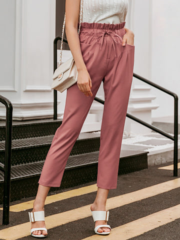 Tied Paperbag Waist Cropped Pants
