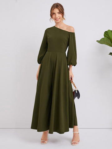 Asymmetrical Neck Lantern Sleeve Super Wide Leg Jumpsuit