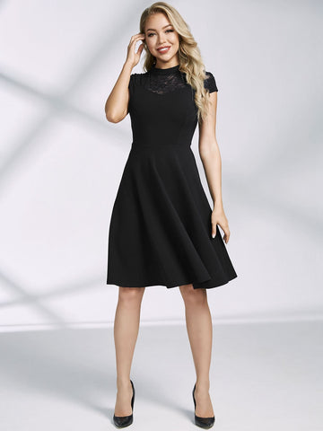 Miusol Mock Neck Lace Yoke Skater Dress