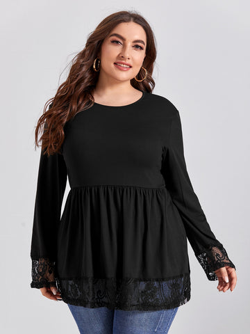 Plus Contrast Lace Babydoll Tee