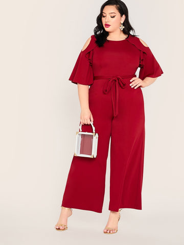 Plus Cold Shoulder Ruffle Trim Belted Wide Leg Jumpsuit | Amy's Cart Singapore