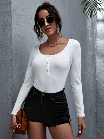 Buttoned Front Rib-knit Fitted Top