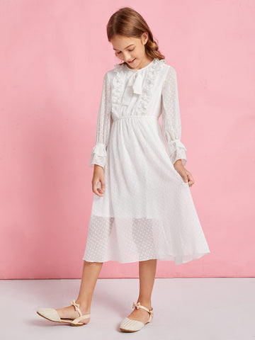 Girls Bow Front Ruffle Trim Swiss Dot Dress