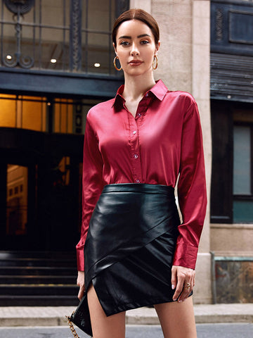 Button Front Satin Blouse
