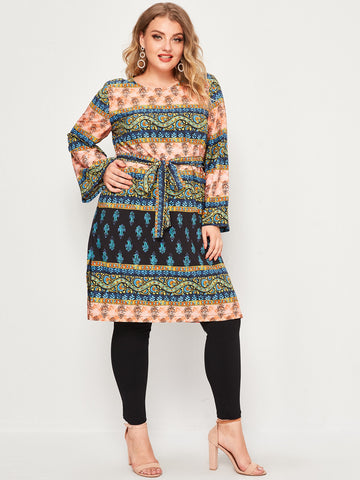 Plus Tribal Print Self Belted Blouse