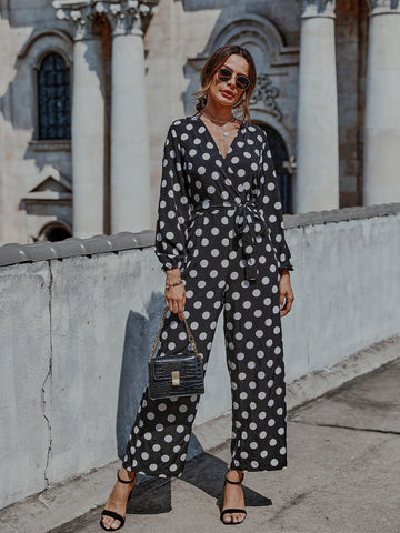 Surplice Neck Polka Dot Belted Jumpsuit