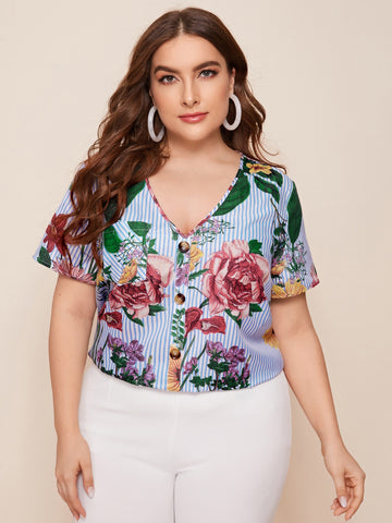 Plus V-neck Button Front Floral & Striped Top
