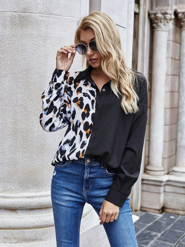 Graphic Spliced High Low Hem Blouse