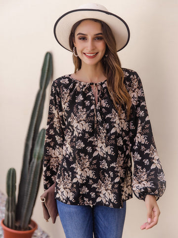 Floral Tie Neck Bishop Sleeve Blouse