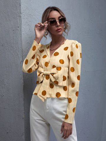 Bow Front Polka Dot Top