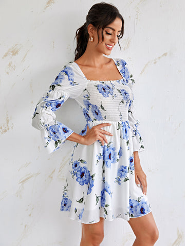 Flounce Sleeve Floral Print Shirred Dress