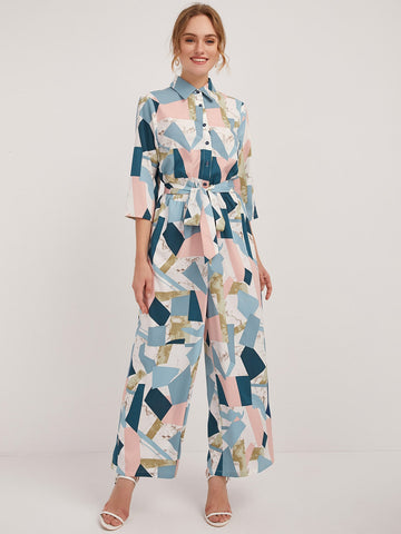 Geo Print Button Half Placket Belted Jumpsuit