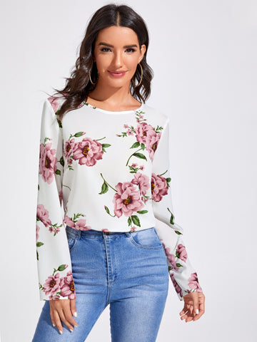 Floral Print Fitted Top