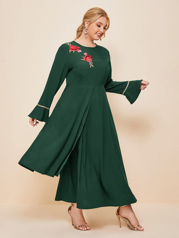 Plus Floral Embroidered Flounce Sleeve A-line Dress