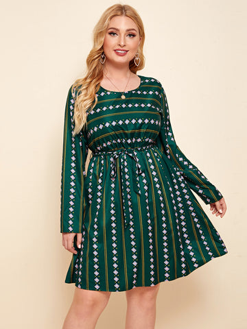 Plus Geo & Striped Print Belted A-line Dress