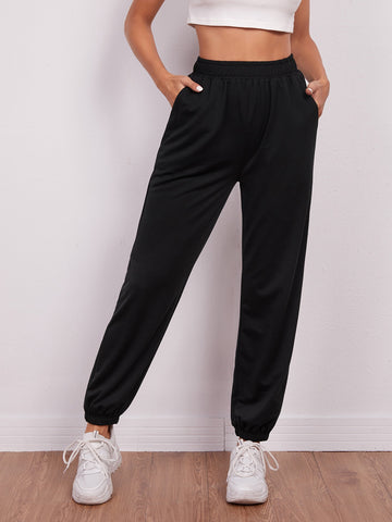 Elastic Waist Slant Pocket Sweatpants