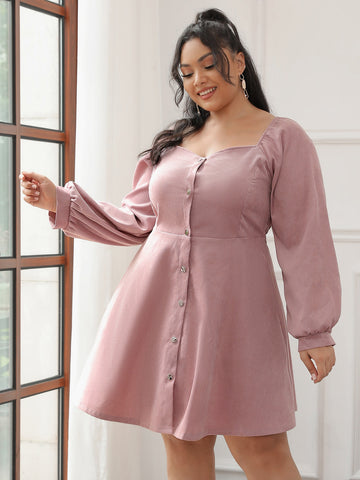 Plus Sweetheart Button Front Bishop Sleeve Dress