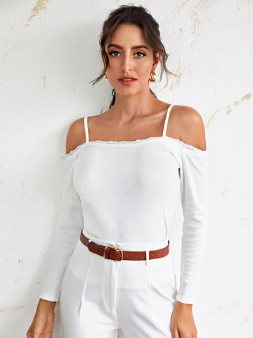 Contrast Lace Cold Shoulder Tee