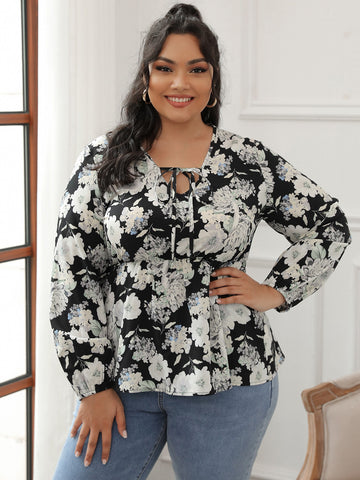 Plus Floral Print Tie Neck Peplum Blouse