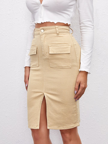 Split Hem Pocket Patched Denim Skirt