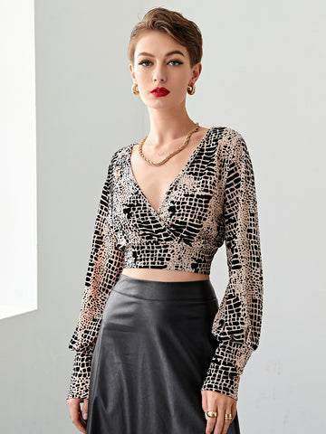 Surplice Neck Allover Print Crop Top
