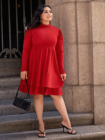 Plus Mock Neck Puff Sleeve Layered Hem Dress