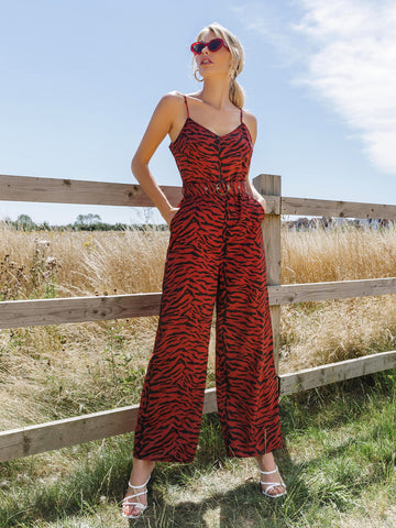Tiger Striped Print Slant Pocket Buckle Belted Slip Jumpsuit