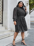 Plus Frill Trim Bell Sleeve Belted Ditsy Floral Dress