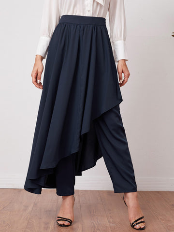 Solid Pants With Asymmetrical Hem Skirt