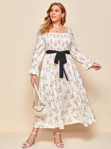 Plus Floral Print Shirred Bodice Belted Dress