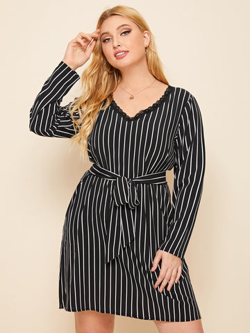 Plus Lace Trim Striped Belted Dress