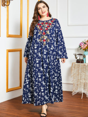 Plus Floral Embroidered Tunic Dress