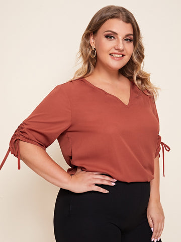 Plus V-neck Drawstring Ruched Sleeve Top