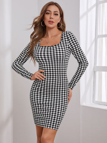 Gingham Square Neck Bodycon Dress