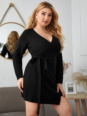 Plus Solid Belted Wrap Sweater Dress