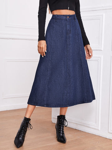 Dark Wash A-line Denim Skirt