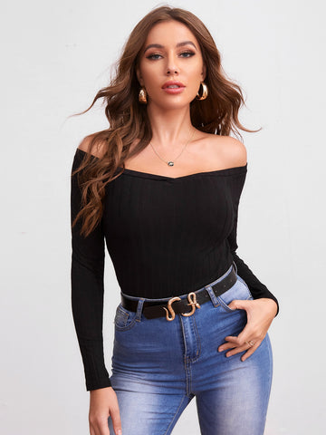 Off Shoulder Solid Form Fitted Tee