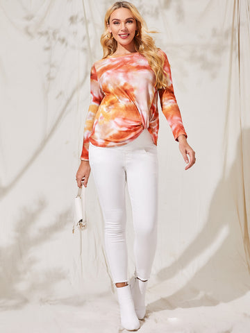Maternity Twist Hem Tie Dye Top