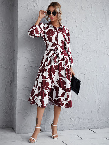 Tropical Print Button Front Belted Ruffle Hem Dress