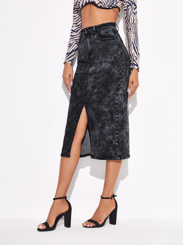 High Waist Slit Hem Denim Skirt