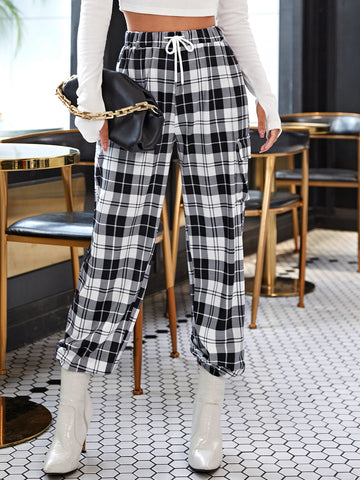 Plaid Drawstring Waist Side Flap Pocket Sweatpants
