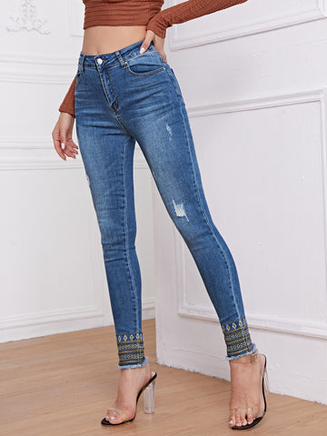 High-Waisted Striped Embroidery Raw Hem Skinny Jeans