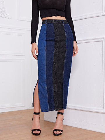 Button Front Split Side Color Block Denim Skirt