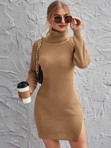 Rolled Neck Raglan Sleeve Split Side Sweater Dress