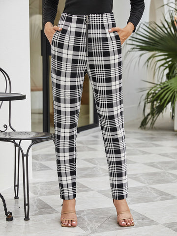 O-ring Zip Up Plaid Pants